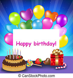 Happy Birthday Card - Decoration Ready For Birthday With...