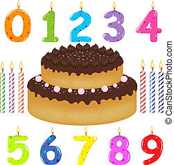aniversário, bolo, com, velas, de, diferente, forma