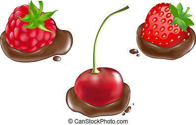 Berries In Chocolate - Strawberry, Raspberries And Cherry In...