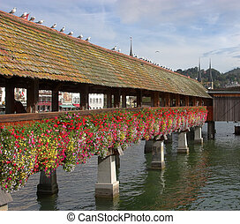 Flower bed - Lake in Lucerne with a tower and a bridge,...