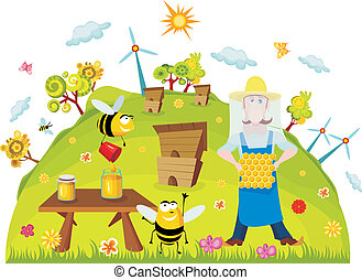 farm card - vector illustration of a cute farm card