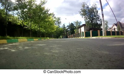 rear view from car drive on village