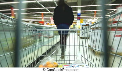Shopping cart Time Lapse - cart rushes through the...