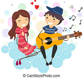 Serenade - Illustration of a Boy Serenading a Girl
