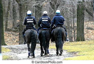Horsing with the law - Police on horseback patrolling a park