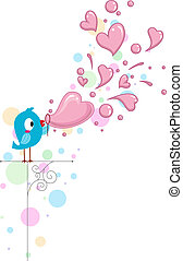 Lovebird Bubbles - Illustration of a Lovebird Blowing...