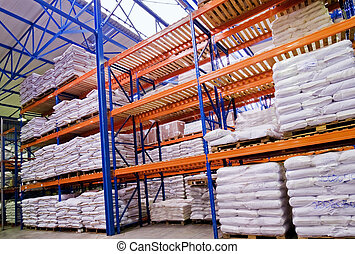 warehouse with goods - perspective image of shelves stacked...
