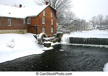 Winter water mill - Old mill along river bank