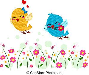 Lovebirds Playing in a Garden - Illustration of Lovebirds...
