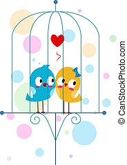 Lovebirds in a Cage - Illustration of Lovebirds in a Cage