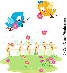 Lovebird Courtship - Illustration of a Lovebird Giving...