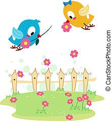 Lovebird Courtship - Illustration of a Lovebird Giving...
