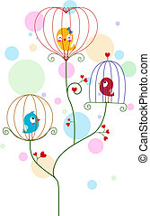 Lovebirds - Illustration of Lovebirds in Cute Cages