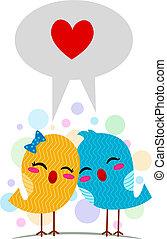 Language of Love - Illustration of Lovebirds Using the...