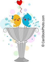 Lovebirds Playing in a Bird Bath - Illustration of Lovebirds...