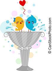 Lovebirds Playing in a Bird Bath - Illustration of Lovebirds...
