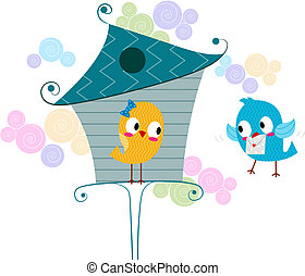 Love Letter - Illustration of a Lovebird Carrying a Love...