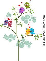Lovebirds on a Tree - Illustration of Pairs of Lovebirds...
