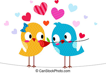 Lovebird Giving Another Lovebird a Flower - Illustration of...