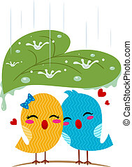 Lovebirds Sheltering From the Rain - Illustration of...