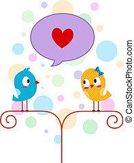 Lovebird Professing His Love - Illustration of a Lovebird...
