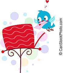 Lovebird Sending a Mail - Illustration of a Lovebird Sending...