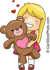 Bear Hug - Illustration of a Girl Hugging a Stuffed Toy