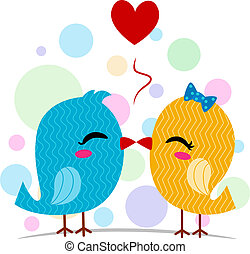 Lovebirds Kissing - Illustration of a Pair of Lovebirds...