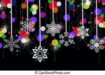 Winter Party - Hanging snowflakes with diamonds and colorful...
