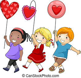 Valentine Parade - Illustration of Kids Participating in a...