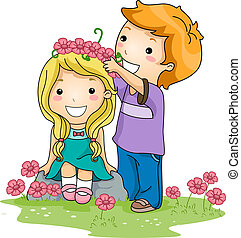 Flower Crown - Illustration of a Boy Placing a Crown of...