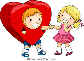 Heart Costume - Illustration of a Boy Wearing a Heart...