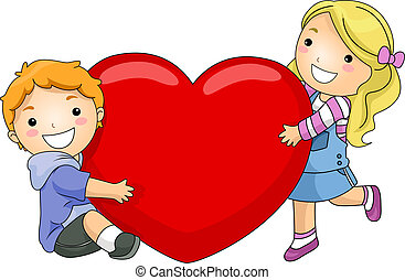 Kids Hugging a Giant Heart - Illustration of a Boy and Girl...