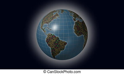 World economies stock market globe - World economies with...