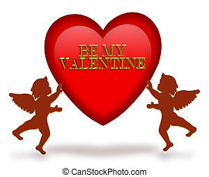 Clip Art of Valentine Heart and Cupid - 3D heart and cupids for ...