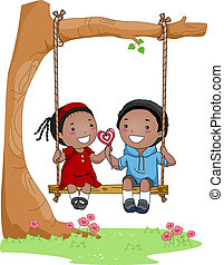 Kids on a Swing - Illustration of a Boy and Girl Sitting...