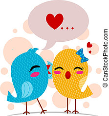 Sweet Nothings - Illustration of a Lovebird Whispering Sweet...
