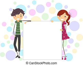 Stick Figures Board - Illustration of a Stick Figure Couple...