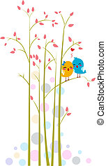 Lovebirds on a Tree - Illustration of Lovebirds on a Tree