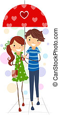 Stick Figure Couple - Illustration of a Stick Figure Couple...