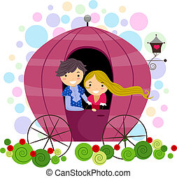 Couple in a Carriage - Illustration of a Stick Figure Couple...