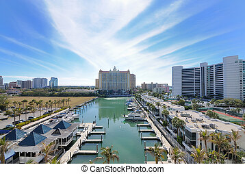 Marina and luxury hotel high rises in Sarasota, Florida