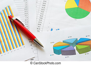 Graphs and charts - Business graphs and charts with a red...