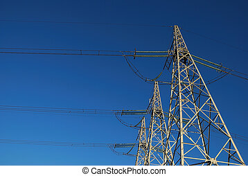 Power lines on the sky background