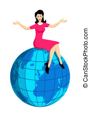 On Top Of The World - Stock image of a woman sitting on a...