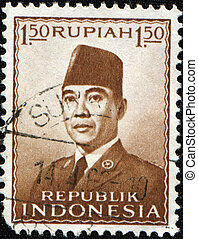 Sukarno - INDONESIA - CIRCA 1962: A stamp printed in...