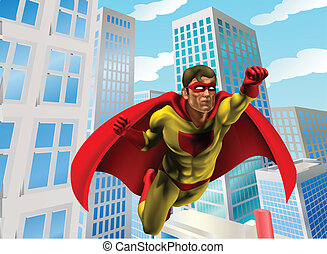 Superhero flying through city - Caped super hero flying...