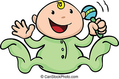 Happy cute baby playing with rattle - Clipart illustration...