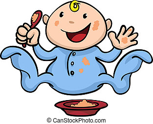 Happy cute weaning baby playing with food - Clipart...