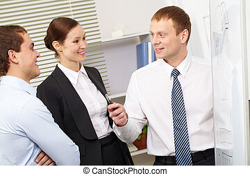 Acquaintance with a plan - A businessman showing a plan to...